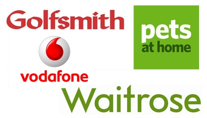 Waitrose, Pets at Home, Nomad Travel, Golfsmiths